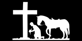 Wholesale Lot of 6 Cowboy Kneeling At The Cross Black Decal Bumper Sticker - $13.88
