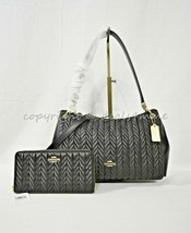 Coach F76721 Small Mia Shoulder Bag OR Coach F75802 Wallet with Quilting. Black - $179.00+