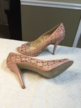 Enzo Angiolini Women Sz 10 Cut Out Heels Pink Leather Open Toe - $14.00
