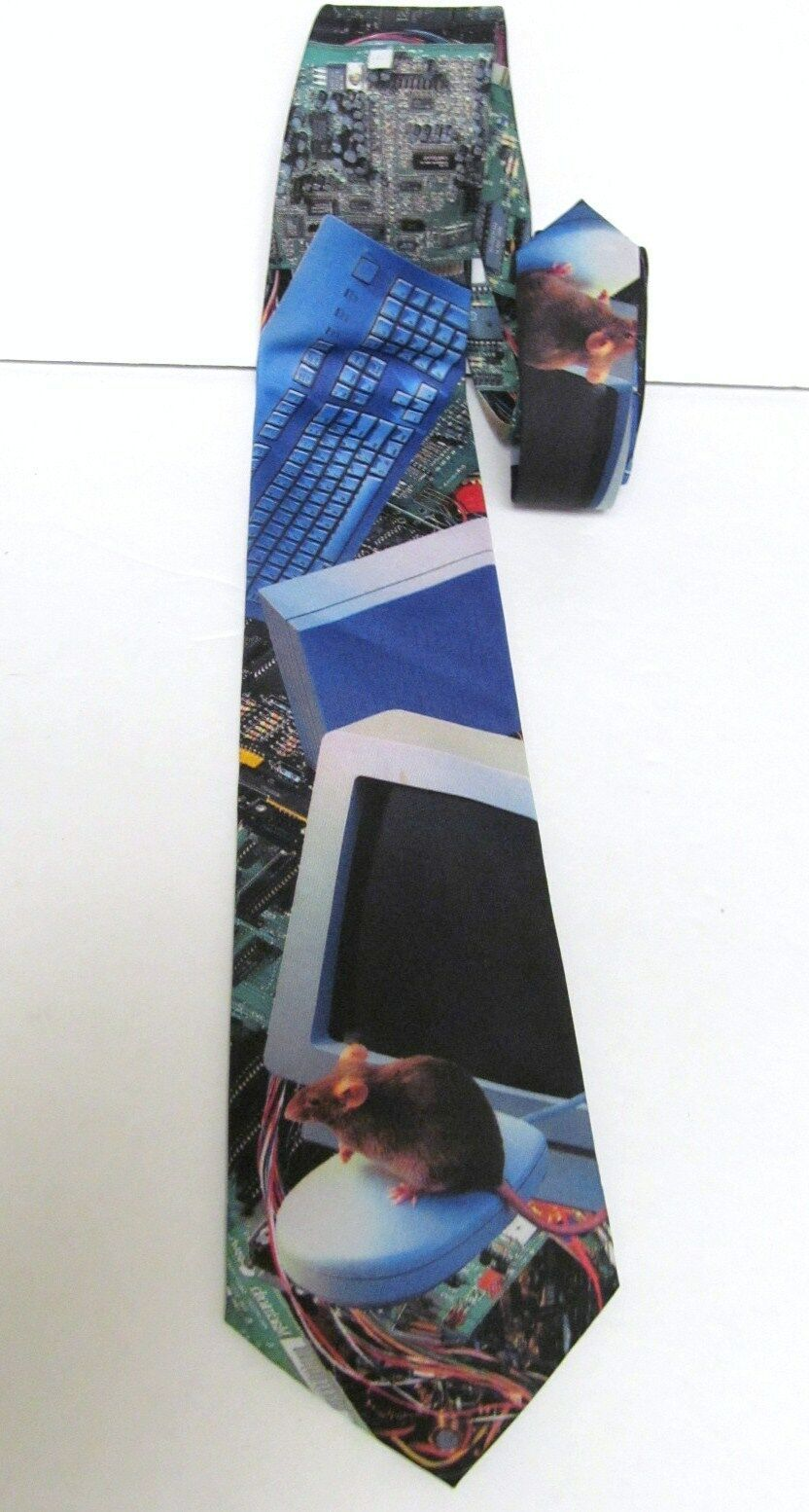 Ralph Marlin COMPUTER IMAGES W Mouse 100% Polyester Neck Tie Multi Color USA