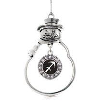Inspired Silver Sagittarius Zodiac Circle Snowman Holiday Christmas Tree Ornamen - $14.69