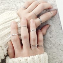 10PCS/SET 2019 Fashion Simple Design anillos Vintage Gold Silver Color Joint Rin - $10.27
