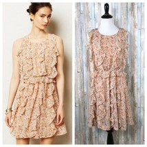 Anthropologie 2 Sachin Babi Blush Pink Floral Printed Ruffle Senna Dress... - $65.71