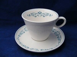 4 Vintage Franciscan Blue Fancy Cups & Saucers Near Mint - $19.95