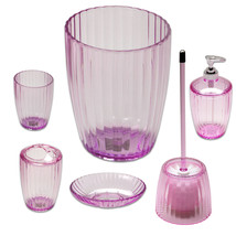 Ribbed Acrylic Bath Accessory 6 Piece Set- Pink - $49.49