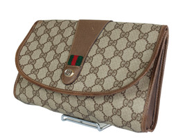 Authentic GUCCI GG Pattern PVC Canvas Leather Browns Clutch Bag GP1890 - $229.00