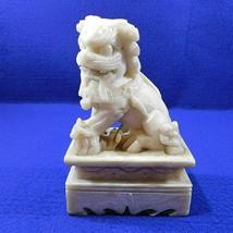 Antique Soapstone Guardian Lion Foo Dog Figurine Hand Carved - $29.50