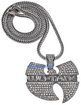 WU-TANG Necklace New Rhinestone Hip Hop Pendant With 36 Inch Franco Style Chain  - $34.99