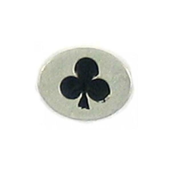 BLACK CLUBS CLOVER EPOXY FINE PEWTER OVAL DISC BEAD - 11mm L x 9mm W x 3mm D