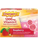 30ct Emergen-C Vitamin C 1000mg Daily Immune Support Antioxidant Raspber... - $14.99
