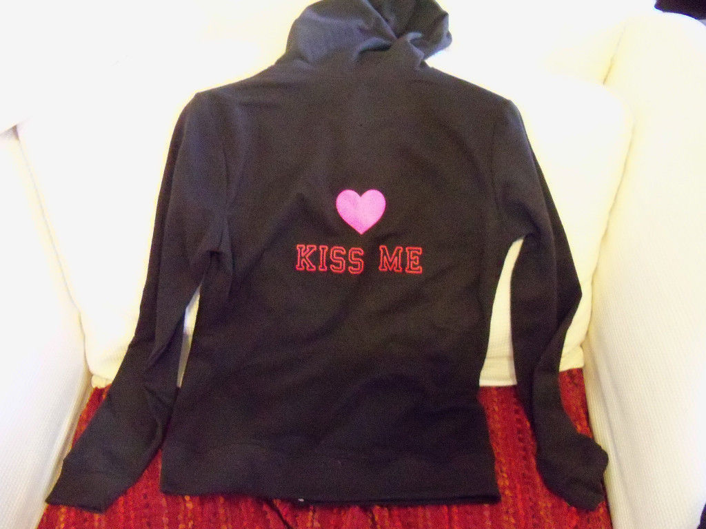 Primary image for Black Kiss Me Zip Up Hoodie Size L 12/14 Women's NEW
