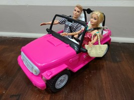 Barbie And Ken Beach Cruiser Doll Car Pink Two Seater Open Jeep Converti... - $23.21