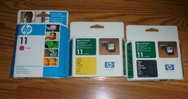 Genuine HP 11 Black Yellow Magenta Printheads New In Box Lot Old Stock - $56.09
