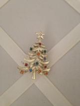 Vintage Crystal Rhinestone Ornaments Gold Tone Christmas Tree Fashion Brooch  - $40.00