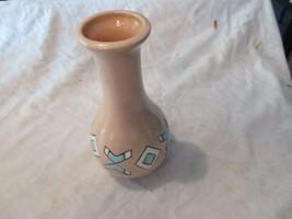 """Vase , Southwest Motif , Tan / Light Blue , 8""""High , Vintage - $25.00"""
