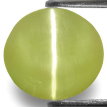 INDIA Chrysoberyl Cat's Eye 6.90 Cts Natural Untreated Greyish Yellow Oval - $1,553.00