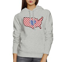 Heart USA Map Unique American Flag Gray Hoodie For Fourth Of July - $25.99+