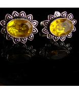 ornate Sterling Citrine Cufflinks - yellow wedding groom gift - estate m... - $95.00