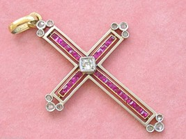 ART DECO .17ctw DIAMOND .5ctw RUBY HOLY TRINITY 2 TONE CROSS PENDANT 192... - $1,628.55