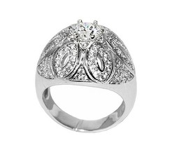 Pave & Solitaire High Dome Statement Cubic Zirconia Ring Bridal - $39.99