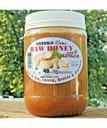 2 Jars RAW HONEY with GINGER 2.5 Lbs / 40oz 100% PURE USA HONEY - $39.55