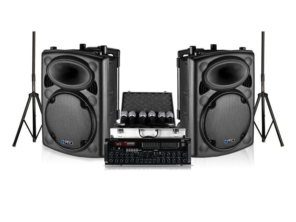 "Technical Pro Dual 12"" Stage Speaker Amplifier 6 Microphone DJ 2000w Package"
