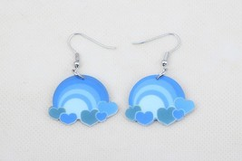 Bonsny blue rainbow cute lovely printing drop earrings acrylic new 2014 ... - $10.00