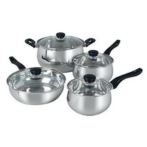 Oster Rametto 8 Piece Stainless Steel Kitchen Cookware Set with Glass Lids - $84.76