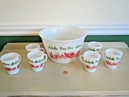Mid Century Milk Glass Christmas Egg Nog Punch Bowl & Cup Set Christmas - $32.18