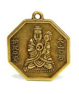 "BUDDHA FENG SHUI CHARM 1"" Chinese Brass Pendant Bagua Protection Good Lu... - $6.95"
