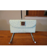 Authentic Dooney & Bourke Clutch Wallet Ostrich Leather Light Aqua New W... - $89.09