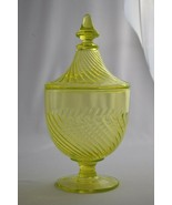 Rare Imperial Glass of Ohio Twisted Optic Canary Yellow Covered Candy Jar - $59.40