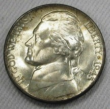 1945-D Silver Jefferson Nickel GEM++ UNC Decent Steps Original Bloom AD697 - $20.06