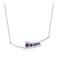 NATURAL AMETHYST GRADUATION  GEMSTONE NECKLACE JEWELRY IN 925 STERLING S... - $86.64