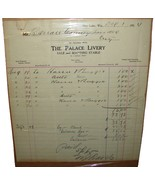 1914 Antique THE PALACE LIVERY Delivery Service Invoice Receipt Barron C... - $9.99