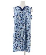 Denim& Co Printed Slvless Dress Solid Trim Blue Multi M NEW A288728 - $23.74