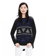 Banana Republic Mixed-Jacquard Anorak Pullover, Black, Print, Size M, Pr... - $38.47