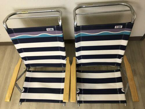 Pair Of Debro Blue Stripe Aluminum Cloth Folding Beach Low Adjustable Chairs