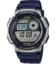 Casio AE1000W-2AV Men's Blue Resin Band 5 Alarms Chronograph World Time ... - $19.50