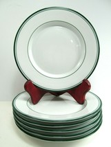 6 Dansk Concerto Allegro Green Bread and Butter Plate White Green Rim Bands - $34.65