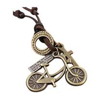 2 Pieces Of Retro Artistic Cow Leather Cord Bike Pendant Necklace