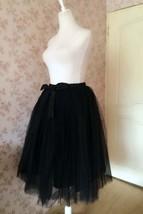 WOMEN BLACK Tea Length Midi Tulle Skirt Plus Size Black Tulle Skirt With Bow NWT image 5