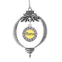 Inspired Silver Nana Yellow Circle Holiday Christmas Tree Ornament With Crystal  - €12,87 EUR