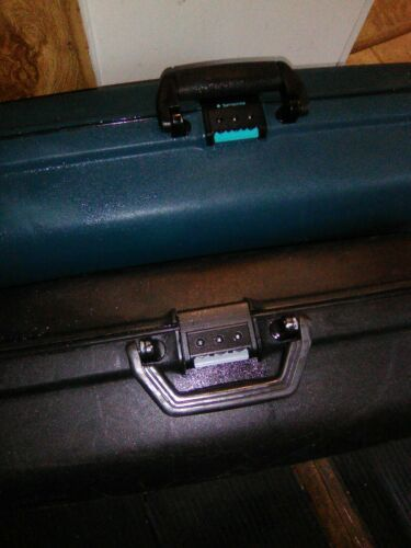 "(2) Two Vtg 29"" Samsonite Oyster Estes Hard Shell Rolling Suitcases Clam Locking"