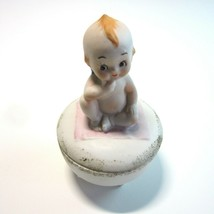 Vintage Lefton Kewpie with Blue Wings on Pink Blanket Porcelain Trinket Box - $8.99
