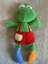 Baby Gund Green Crinkle Rattle Frog Sock Hop Ribbitz Stuffed Animal Toy - $12.13