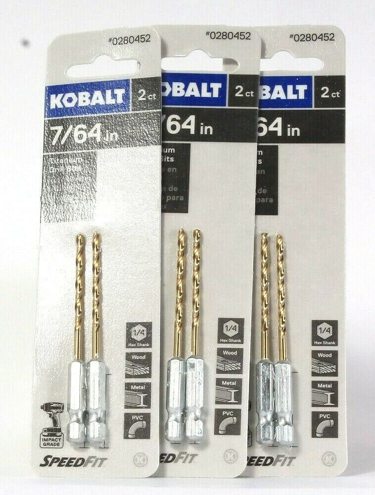 Primary image for 3 Packages Kobalt 0280452 7/64 In 2 Count Titanium Drill Bits Speed Fit