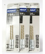 3 Packages Kobalt 0280452 7/64 In 2 Count Titanium Drill Bits Speed Fit  - $19.99