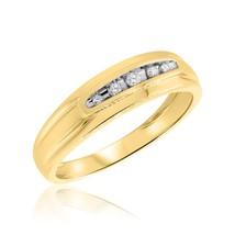 Five Stone Men's Wedding Band Ring 0.12Ct Round Sim Diamond 14K Yellow G... - $73.99