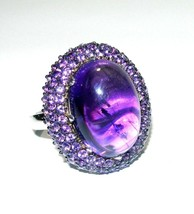 RARITIES LAYERED HUGE STERLING SILVER AMETHYST CABOCHON LARGE ESTATE RING - $129.99
